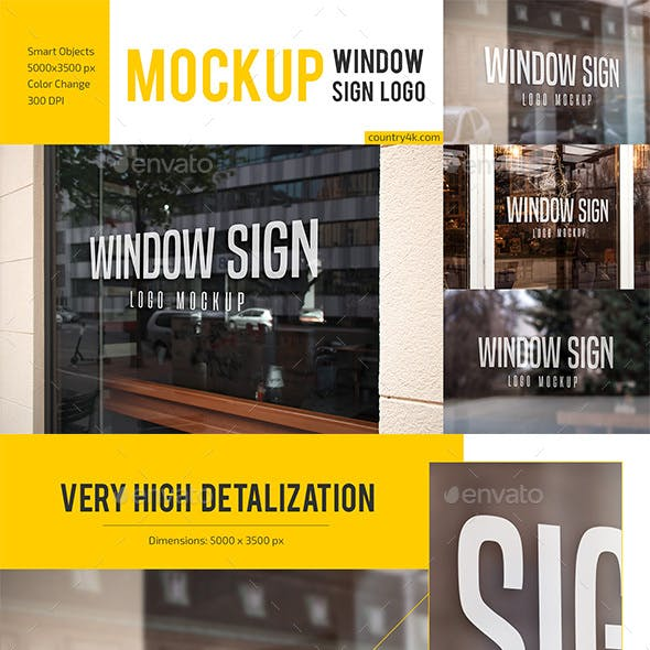 Window Sign Logo Mockup Set