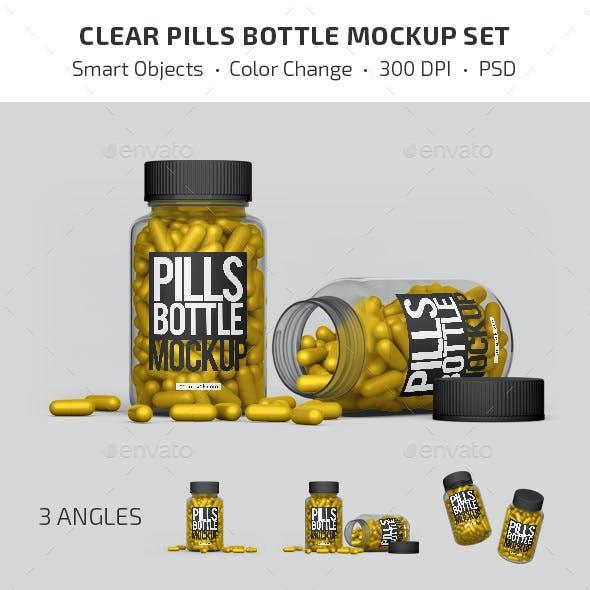Clear Pills Bottle Mockup Set