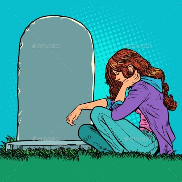 A Sad Widow or Daughter Near a Grave