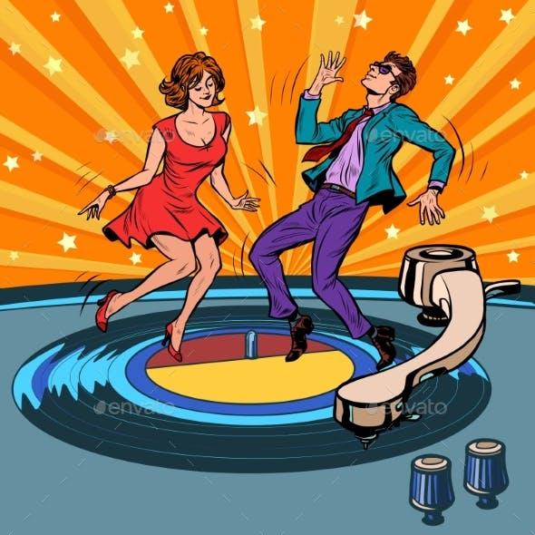 Retro Vinyl Record A Couple Dancing Music Party