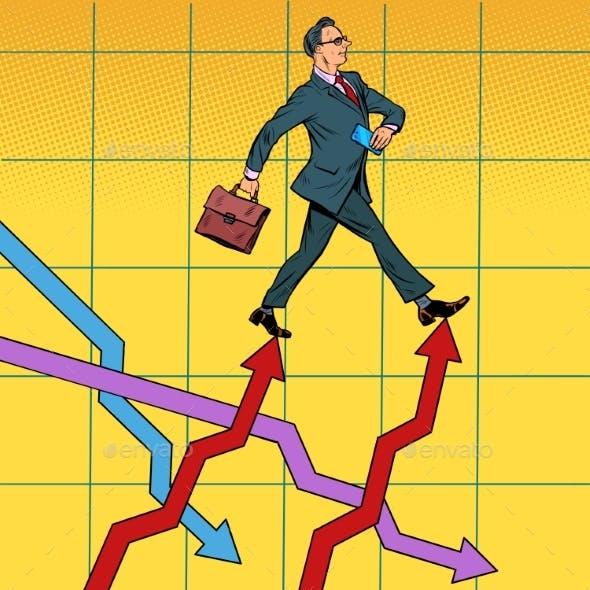 Successful Businessman Walking Forward on Growth