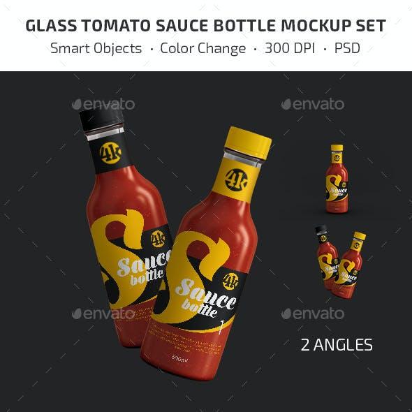 Glass Tomato Sauce Bottle Mockup Set