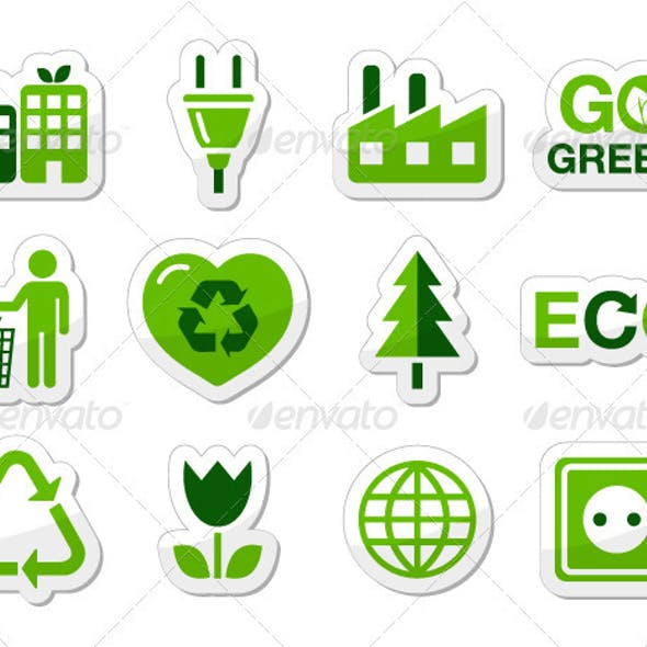 Green eco buttons - recycling, green power