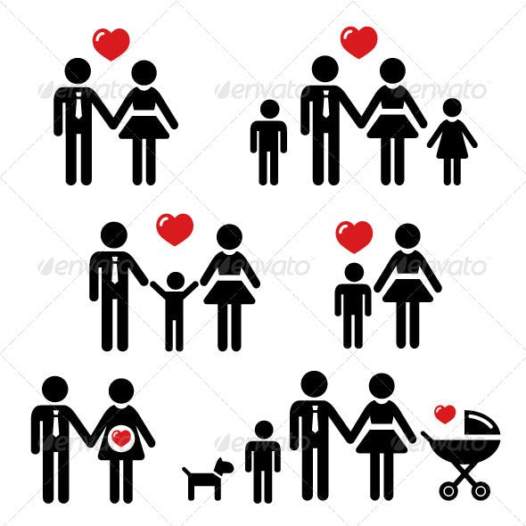 Family, relationship, pregnancy icons set