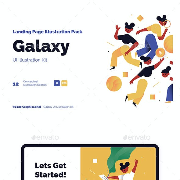 Galaxy Landing Page Illustration Pack