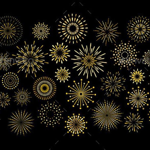 Art Deco Star Shape Fireworks Burst Pattern Set