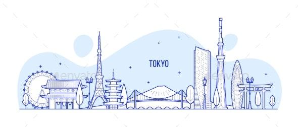 Tokyo Skyline Japan City Buildings Vector Linear - Buildings Objects