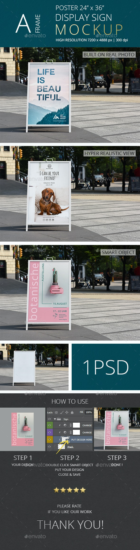 A-Frame Poster Display Sign Mockup/ Vol 4.0