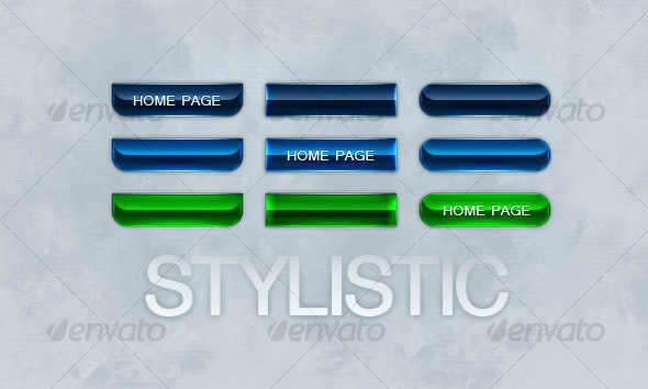Stylistic Buttons - 3 Styles/Colors - Buttons Web Elements