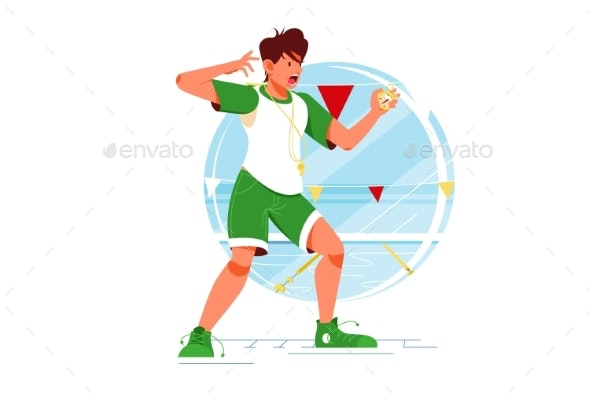 Screaming Sport Coach Swimming Man with Stopwatch - Sports/Activity Conceptual