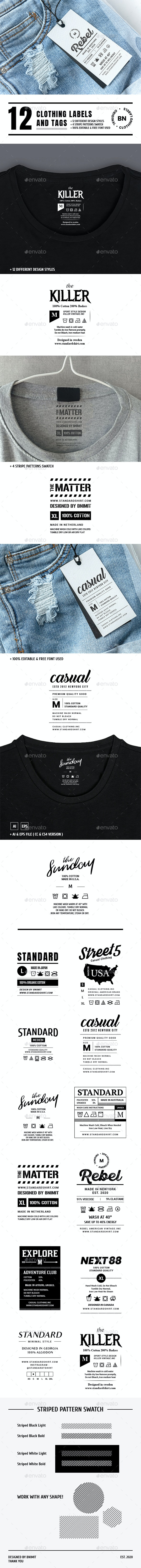 12 Clothing Labels and Tags - Badges & Stickers Web Elements