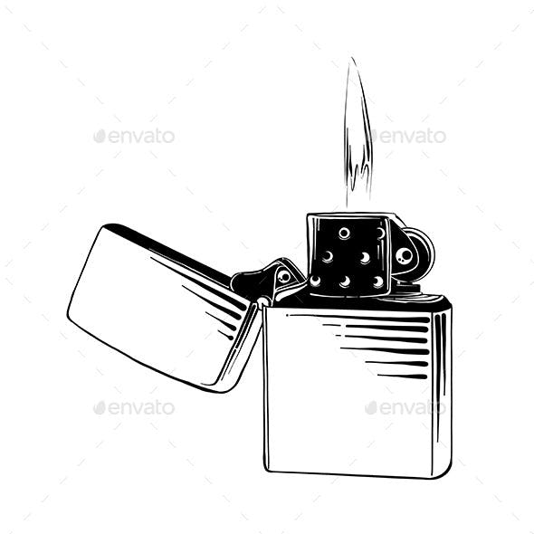 Hand Drawn Sketch of Steel Lighter
