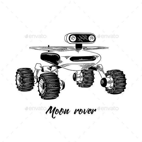 Hand Drawn Sketch of Moon Rover