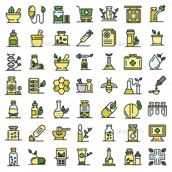 Homeopathy Icons Set Vector Flat