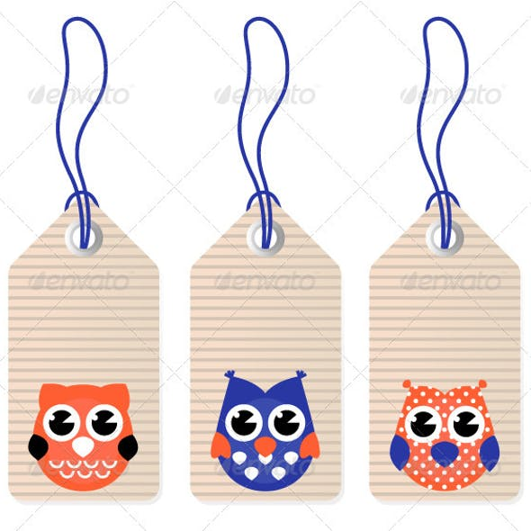 Cute halloween owl blank tags vector