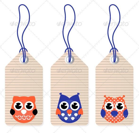 Cute halloween owl blank tags vector - Retro Technology