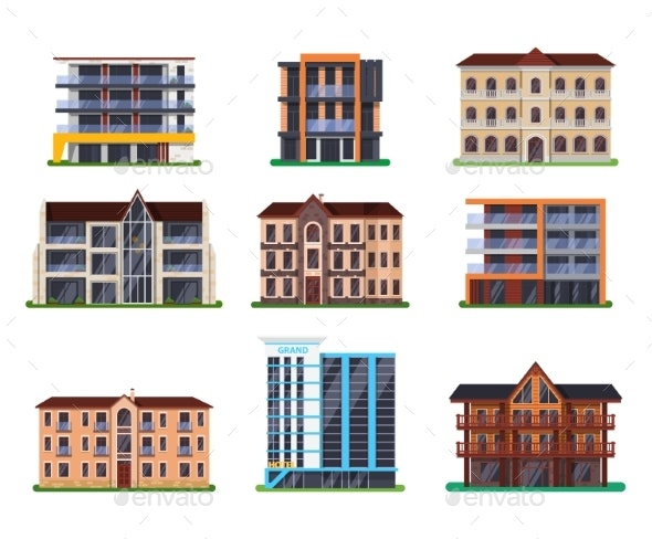Set of Isolated Modern Vector Hotel Buildings - Buildings Objects