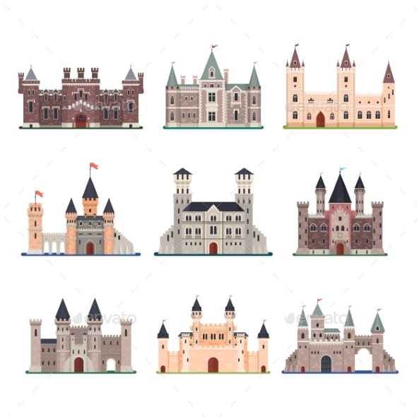Set of Isolated Vector Medieval Castle with Tower - Buildings Objects