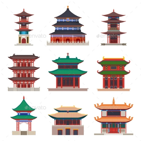 Pagoda Building. Chinese or Japanese Construction - Religion Conceptual