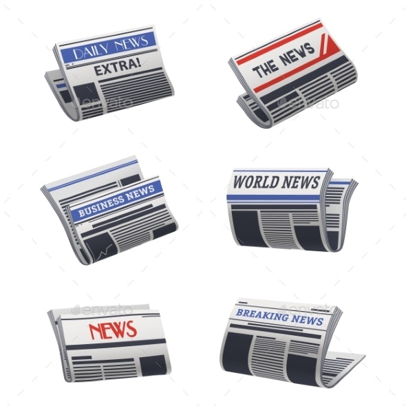 Set of Isolated Newspaper Icon. Paper Media - Miscellaneous Vectors
