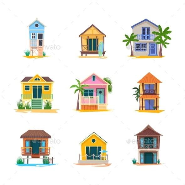 Surfer House or Baywatch Bungalow, Beach Building - Seasons/Holidays Conceptual
