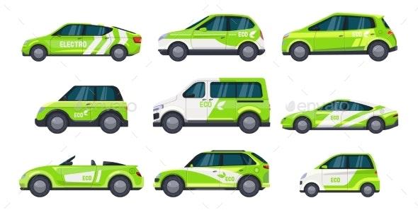 Set of Eco Car or Electric Auto, Green Transport - Miscellaneous Vectors