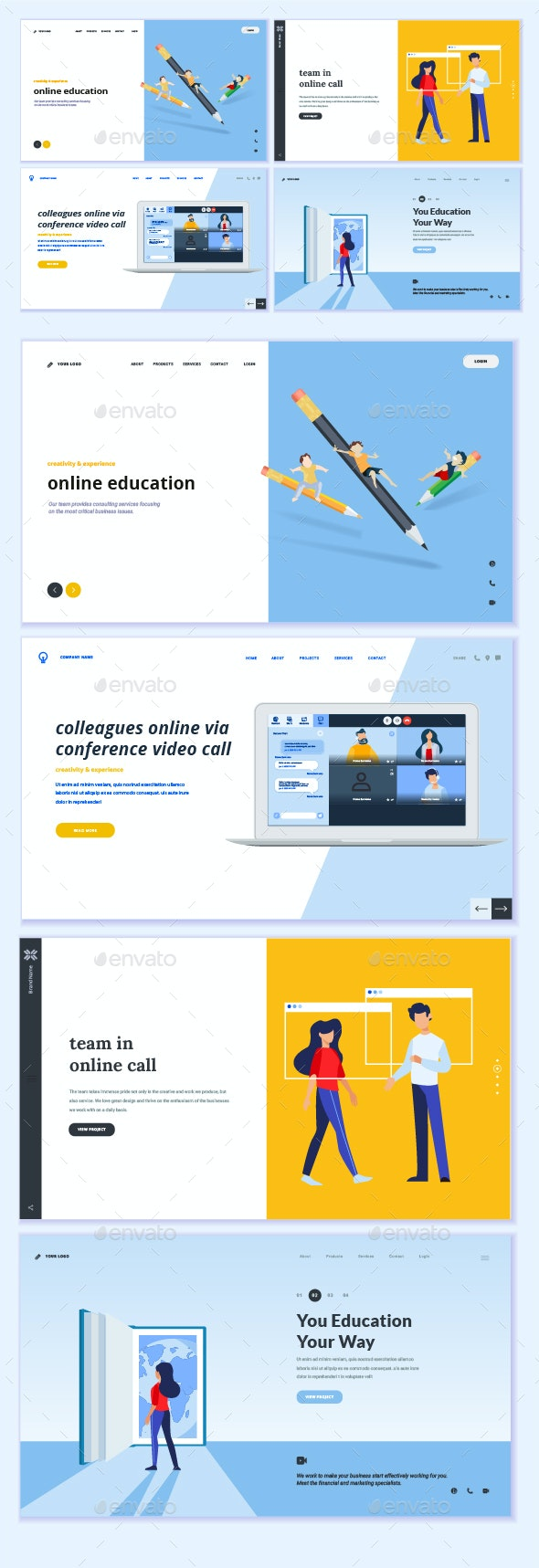 Video Call and Meeting - Web Elements Vectors