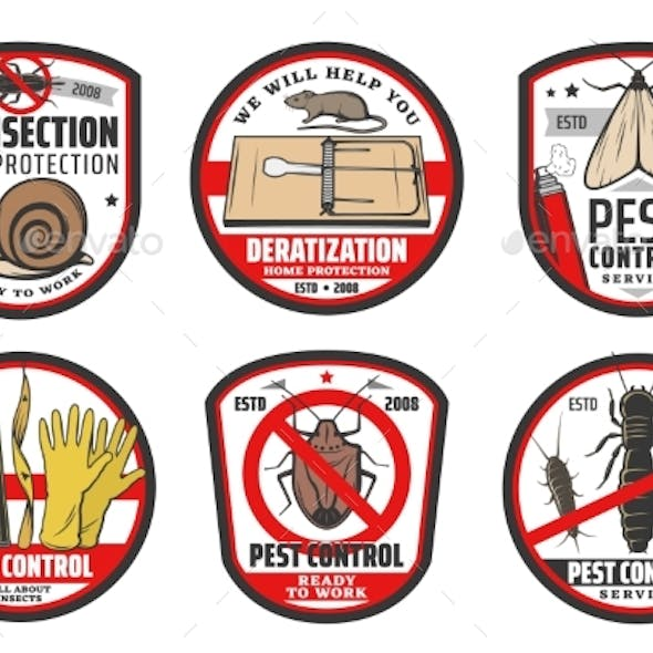 Pest Control Icons, Insects Disinfection Service