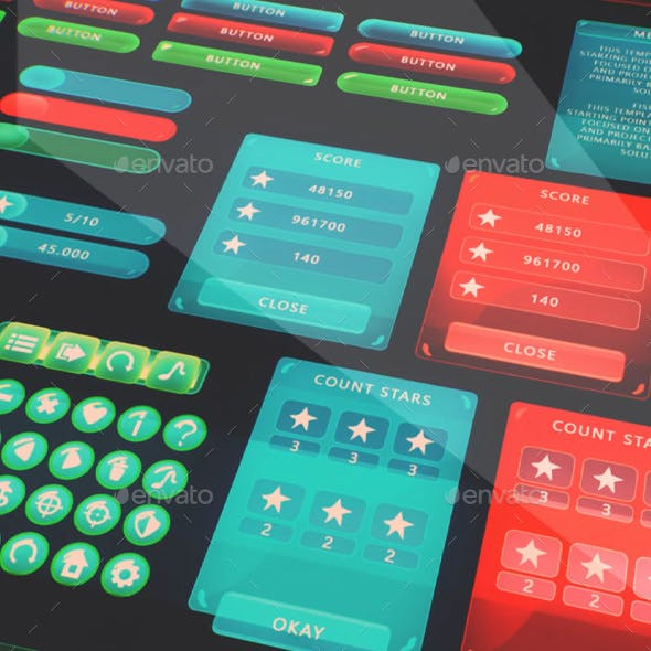Assets: UI Mobile #1 [Icons, Bars, Buttons, Panels, Switches]