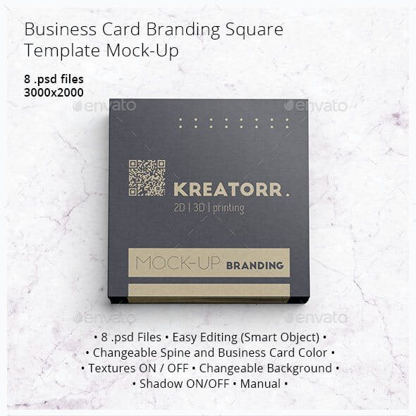 Business Card Branding Square. Template Mock-Up