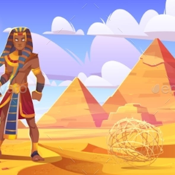 Ancient Egyptian Pharaoh in Desert with Pyramids