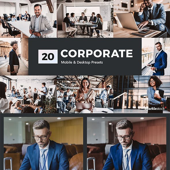 20 Corporate Lightroom Presets and LUTs