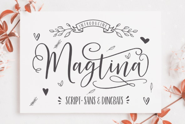 Magtina Script Duo with Xtras - Hand-writing Script
