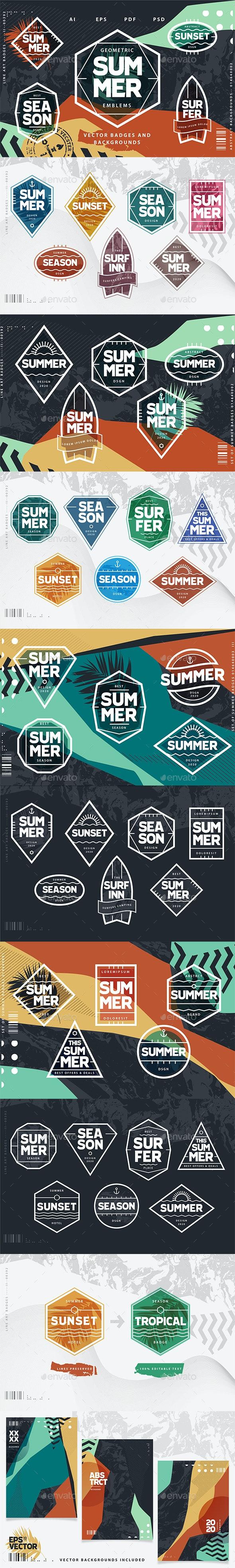 Geometric Summer Emblems Vector Set - Seasons Nature