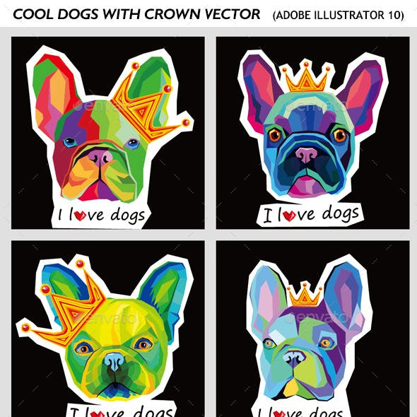 Set of Dog Colorful Stickers