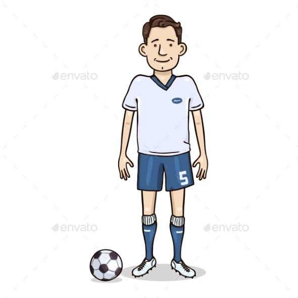 Vector Cartoon Character - Young Man in Football Uniform