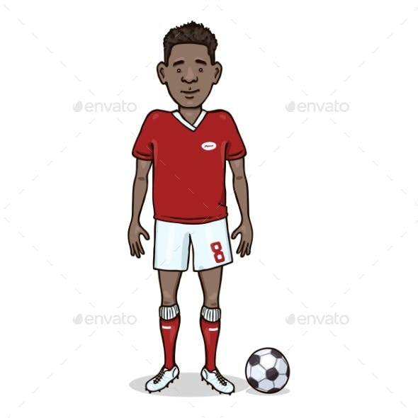Vector Cartoon Character - Man in Football Uniform