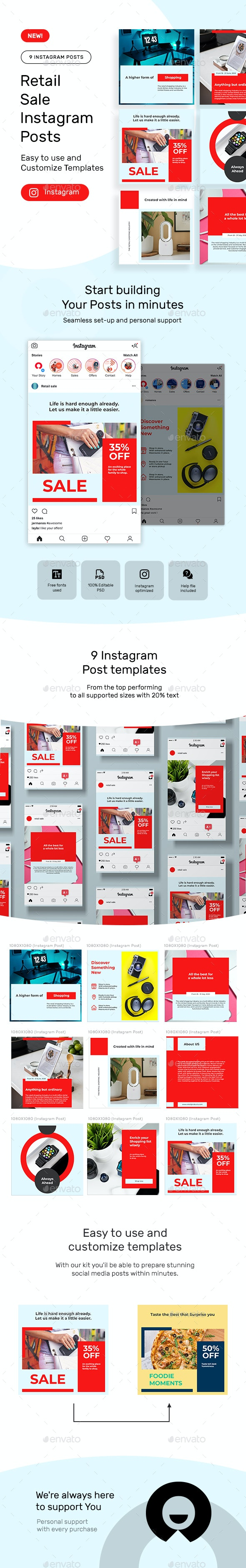 Retail Products Instagram Posts - Social Media Web Elements