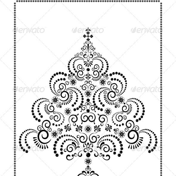 Openwork Christmas Tree on  White Background.