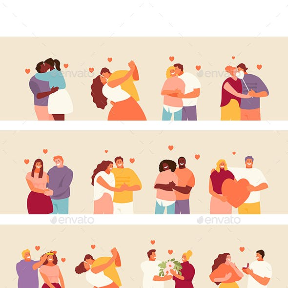 People In Love Couples Vector Set