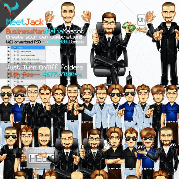 Editable Business Man & Mafia Mascot illustration