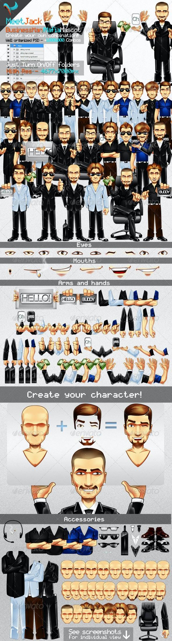 Editable Business Man & Mafia Mascot illustration - Characters Illustrations