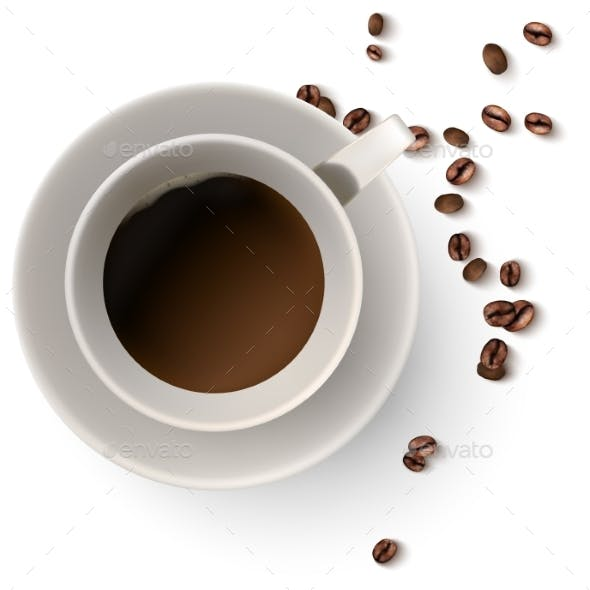 A Cup of Hot Coffee and Coffee Beans