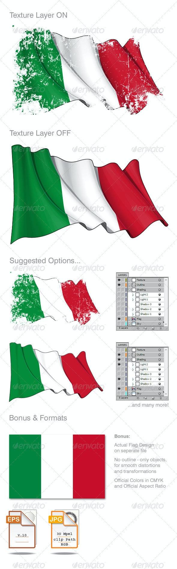 Italy Flag Grunge  - Backgrounds Decorative