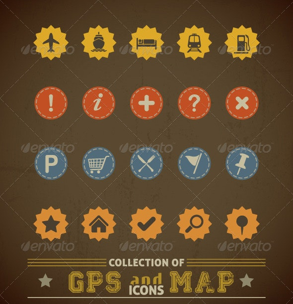 Retro GPS and MAP Icon Set - Retro Technology