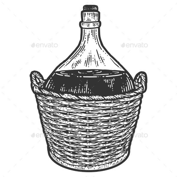 Wine Bottle in a Protective Wicker Basket