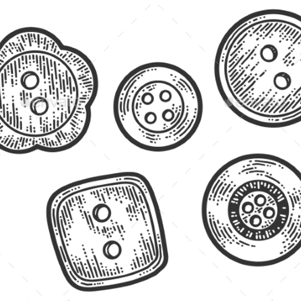 Set of Five Buttons