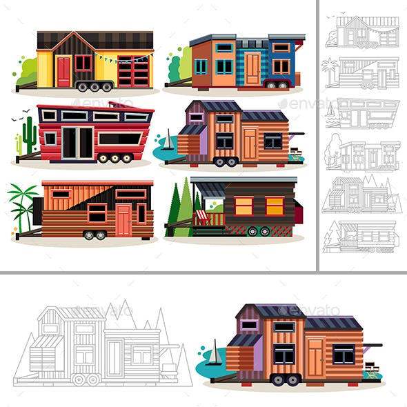 Set of Tiny Houses Mobile Trailers