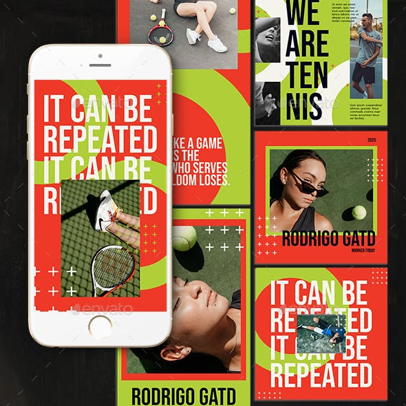 Tennis Playing Instagram Templates