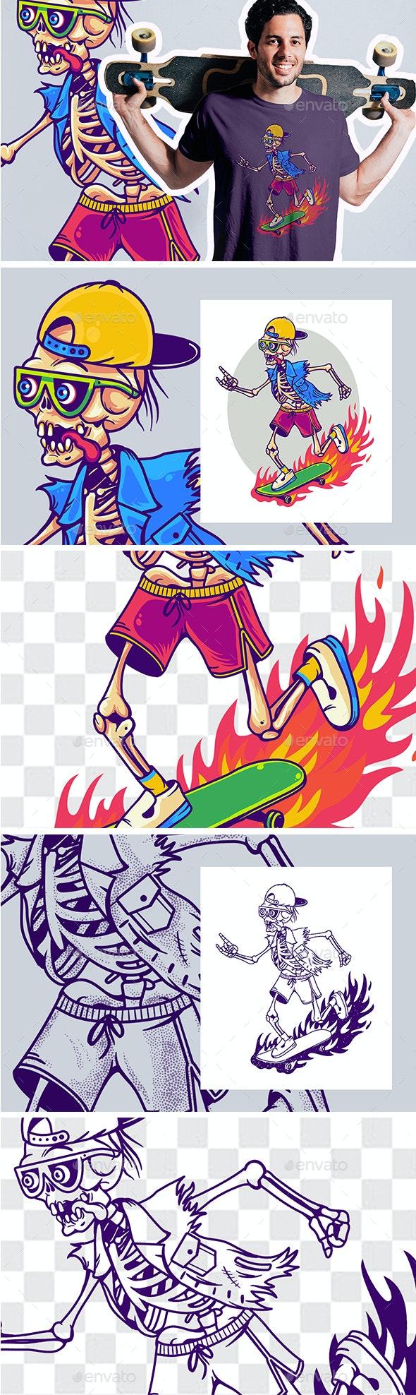 Funny Cartoon Skeleton On Skateboard - Vectors